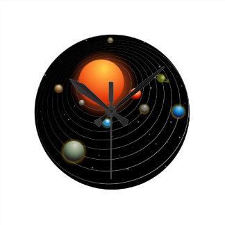 Solar System Graphic Round Clock