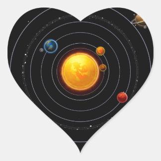 Solar System Heart Sticker