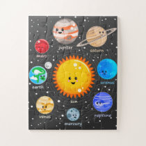 Solar system Kawaii cute planets educational art Jigsaw Puzzle
