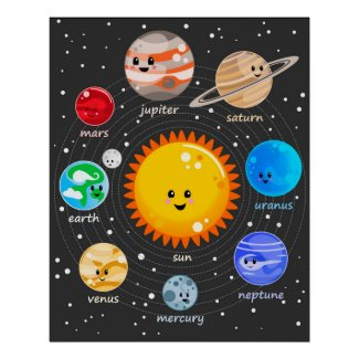 Solar system kawaii illustration sun and planets poster
