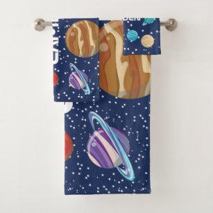Solar System Kid S Personalized Bath Towel Set