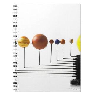 Solar system model on white background 3 notebook