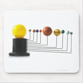 Solar system model on white background 6 mouse pad