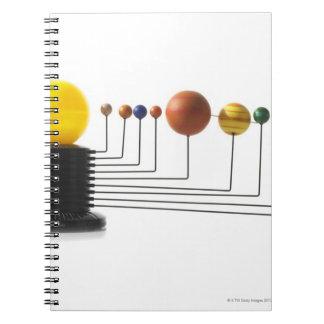 Solar system model on white background 6 notebooks