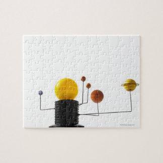 Solar system model on white background jigsaw puzzle