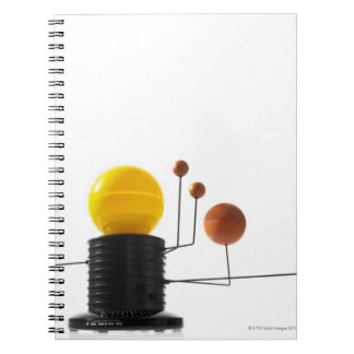 Solar system model on white background spiral notebook