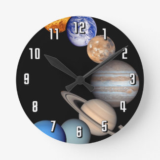 Solar System Montage Round Wall Clocks