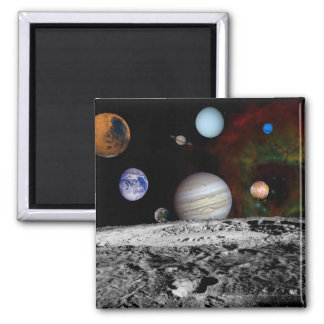 Solar System Montage of Voyager Images 2 Inch Square Magnet