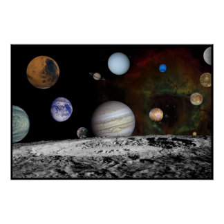 Solar System Montage of Voyager Images 54x36 Posters