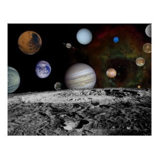 Solar System Montage of Voyager Images 54x42 Posters