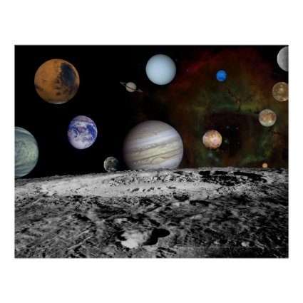 Solar System Montage of Voyager Images 54x42 Poster