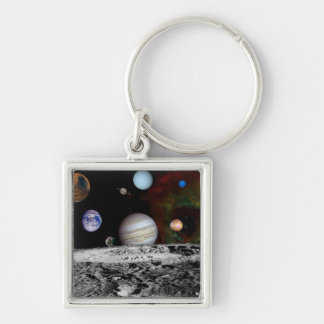 Solar System Montage of Voyager Images Keychain