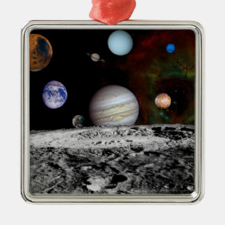 Solar System Montage of Voyager Images Square Metal Christmas Ornament