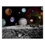 Solar System Montage of Voyager Images Poster