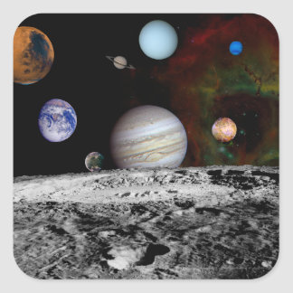 Solar System Montage of Voyager Images Square Sticker