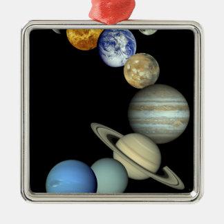 Solar System Montage Square Metal Christmas Ornament