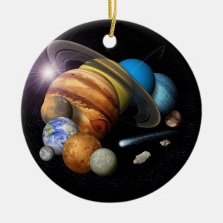 Solar System Montage Double-Sided Ceramic Round Christmas Ornament