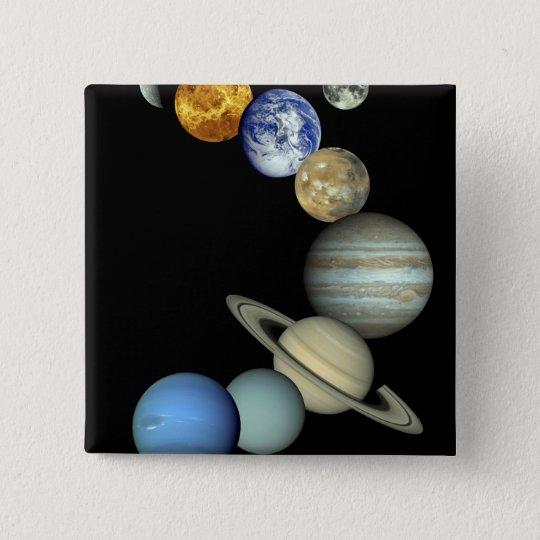 Solar System Montage Pinback Button