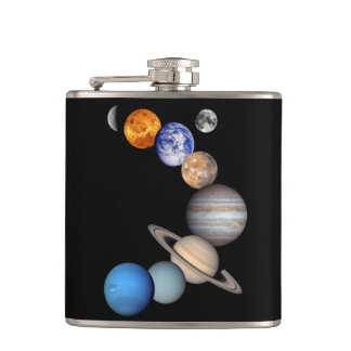 Solar System Montage Planetary Images Hip Flask