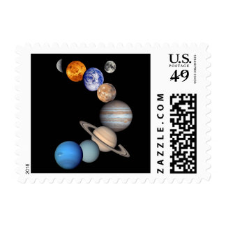 Solar System Montage Planetary Images Postage Stamp