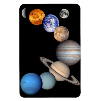 Solar System Montage Planetary Images Rectangular Photo Magnet