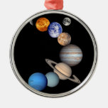 Solar System Montage Round Metal Christmas Ornament
