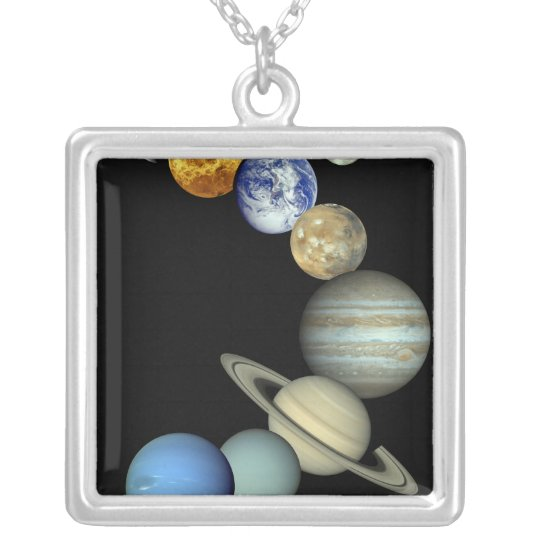 Solar System Montage Silver Plated Necklace
