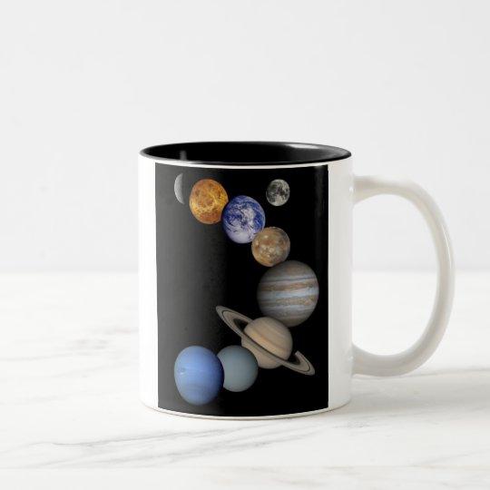 Solar System Montage Two-Tone Coffee Mug