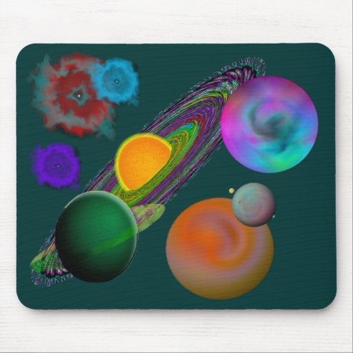 Solar System Mouse Pad Green