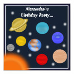 Solar System Outer Space Birthday Party 5.25x5.25 Square Paper Invitation Card