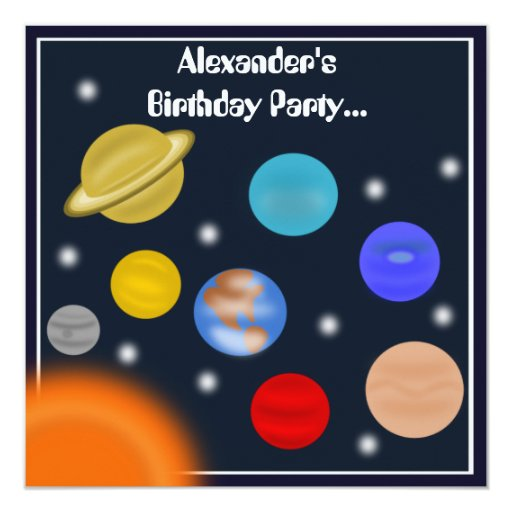 "Solar System Outer Space Birthday Party 5.25"" Square Invitation Card"