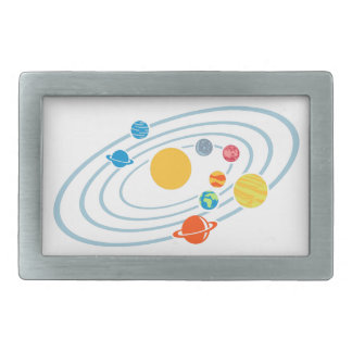 Solar system planets rectangular belt buckle