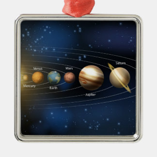 Solar system planets diagram Silver-Colored square decoration