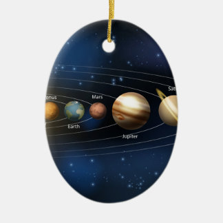 Solar system planets diagram ceramic oval decoration