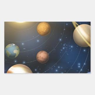 Solar system planets illustration rectangular stickers