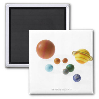 Solar system planets on white background 2 inch square magnet