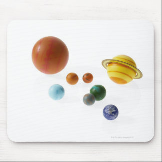 Solar system planets on white background mouse pad