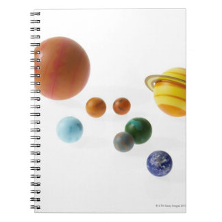 Solar system planets on white background spiral notebooks