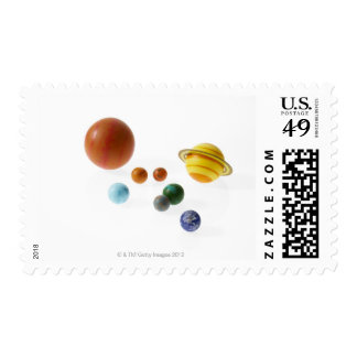 Solar system planets on white background postage stamp
