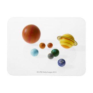 Solar system planets on white background rectangular photo magnet