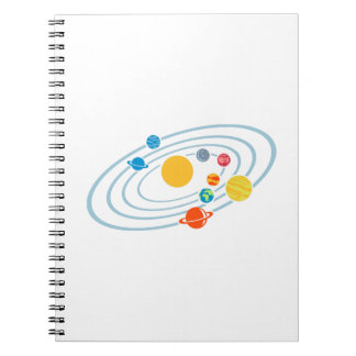 Solar system planets spiral notebook