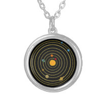 Solar system silver plated necklace