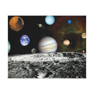Solar System Voyager Images Montage Canvas Print