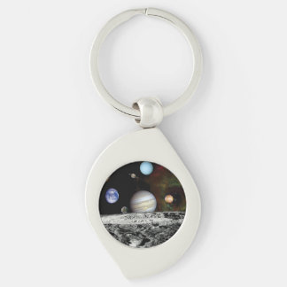 Solar System Voyager Images Montage Silver-Colored Swirl Metal Keychain