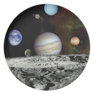 Solar System Voyager Images Montage Party Plates