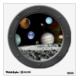 Solar System Voyager Images Montage Porthole View Wall Decal