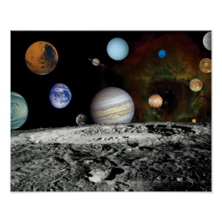 Solar System Voyager Images Montage Poster