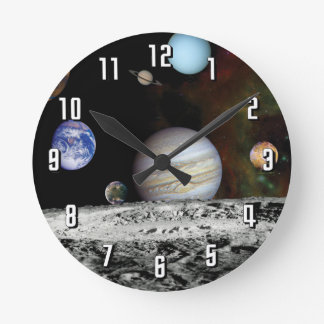 Solar System Voyager Images Montage Round Clock
