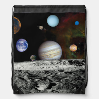 Solar System Voyager Images Montage Space Photos Drawstring Backpack