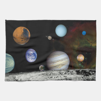 Solar System Voyager Images Montage Space Photos Hand Towel